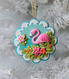 Handcrafted Polymer Clay Flamingo Ornament by Kay Miller at Etsy