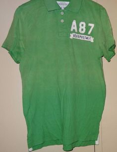 2e9f7f2c511 Aeropostale 1987 Mens Green Golf Polo Tennis Rugby Short Sleeve Shirt Size M  New #Aeropostale