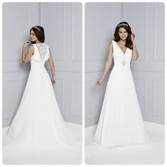 Chiffon gown with illusion lace back detail.