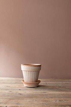 This beautiful ribbed clay pot is a glamorous alternative to the more simple terracotta design. Includes a saucer with a pretty edging. YOU ARE BUYING THE POT ONLY.  PLEASE SEE SAUCERS AVAILABLE. Made in Italy. Can be used indoors and outdoors Diameter. 12 cm ............ Height 12 cm Diameter. 14 cm ............ Heigh Interior Detailing, Rose Clay, Grey Roses, Clay Pots, Floral Style, Terracotta, Interior Inspiration, Alternative, Outdoors