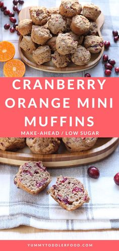 The Best Festive Cranberry Orange Mini Muffins! Combine a handful of simple ingredients into fresh Cranberry Orange Muffins to share come toddler breakfast or snack time...or to serve alongside your favorite chili or soup recipes! #ToddlerFood #BreakfastIdeas #HealthyMuffins #Cranberry
