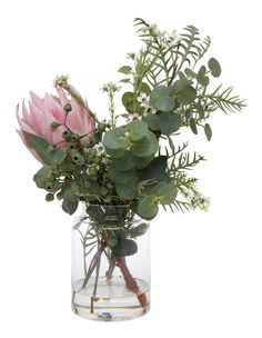 Australian House & Garden Large Native Mix Bouquet With Protea Vase Pink Australian Native Garden, Australian Native Flowers, Australian Plants, Protea Art, Protea Flower, Flower Vases, Faux Flowers, Pretty Flowers, Nothing But Flowers