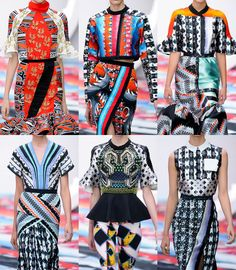 Peter Pilotto S/S 2013-Collage mix and match statements – Twisted Baroque-style plays – Pattern clashes – Bold graphic geo prints – Modern take on folkloric motifs