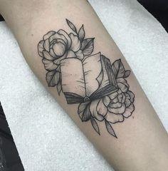 Book & Roses Tattoo by Medusa Lou Tattoo Artist - medusaloux@outlook.com