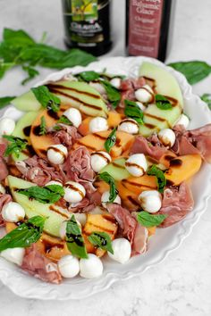 Prosciutto Melon Salad - Colavita Recipes - - This prosciutto melon salad has a ton of delicious flavors and colors, making this a great fourth of July appetizer that also feeds a ton of people! Easy Summer Salads, Summer Salad Recipes, Healthy Salad Recipes, Cantaloupe And Melon, Melon Salad, Italian Appetizers, Easy Appetizer Recipes, Cold Appetizers, Melon And Proscuitto