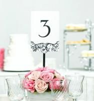 Black and White Flourish Table Number Set - 40 pcs - Wedding Table Decorations - Wedding Essentials - Wedding Favors & Party Supplies - Favors and Flowers Wedding Table Numbers, Wedding Reception Decorations, Wedding Centerpieces, Wedding Ideas, Wedding Favors, Reception Table, Wedding Receptions, Wedding Stuff, Wedding Planning