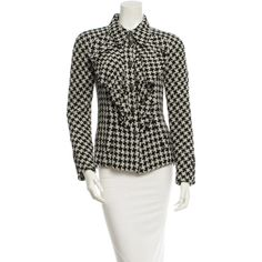 Pre-owned Chanel Blazer ($945) ❤ liked on Polyvore featuring outerwear, jackets, blazers, black, chanel blazer, ruffle jacket, white jacket, chanel jacket and white blazer