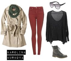 Black top, red or burgundy pants, combat boots, olive pashmina, trench coat