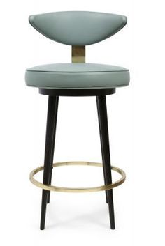 This piece stands apart from your average bar stool with its circular shape curved back and gold metal accents. This stunning stool sits well within both a commercial or domestic environment. Cool Bar Stools, Modern Bar Stools, Modern Chairs, Plywood Furniture, Bar Furniture, Furniture Movers, Luxury Furniture, Modern Furniture, Furniture Design