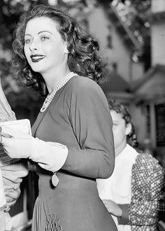 Hedy Lamarr selling war bonds in Newark, 1942