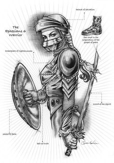 """""""Armor of God"""" by Christine Kerrick: Ephesians 6:12 describes the armor of God: the helmet of salvation to protect one's mind; the breastplate of righteousness to protect one's heart; the belt of truth to protect against deception; th..."""