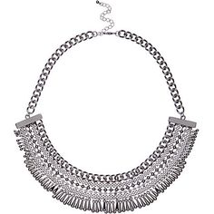 Silver tone bead bib necklace £18.00