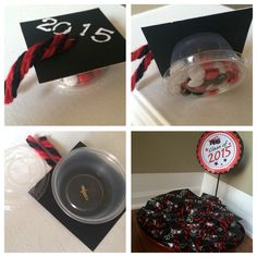"""Graduation Party Favors I made these using 3""""x3"""" black poster board squares, condiment cups (party store), Acco ½"""" brass plated fasteners (Amazon), m&m's (party stores sells separate colors), yarn, white paint w/stencil."""