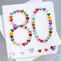 Handmade 3D '80' Card  80th Birthday Eighty by CardsbyGaynor, £3.95