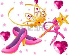Bella crown princess scettro la bacchetta magica scarpe e cuori di cristallo  Archivio Fotografico