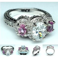 Three Stone Oval Diamond & Pink Sapphire Vintage Engagement Ring