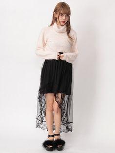 Ank Rouge(アンクルージュ)  チュールテールスカート(ブラック)