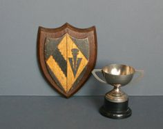 Antique Wooden College Crest - University of Cambridge college crest - Sidney Sussex School. Fanshawe Blaine