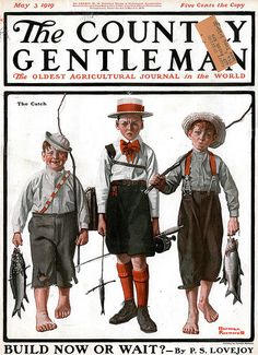 "Country Gentleman Cover May 3, 1919 ""Back from the fishing trip"" Illustration by Norman Rockwell"