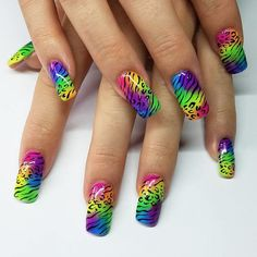 """Neon rainbow animal print nail art! Lisa Frank style! 37 Likes, 7 Comments - Lily (@misslily31) on Instagram: """"BOOM! Can never be too bright for my girl @rissytunes #OBSESSED #nails #nailart #nails2inspire…"""""""