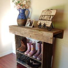 boot storage...love reclaimed wood furniture!