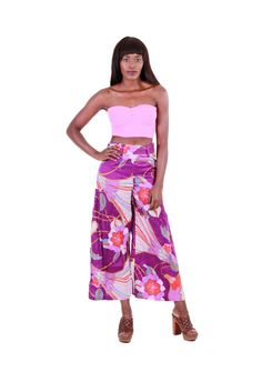 70s Wide Leg Culottes Purple Floral Palazzo High by KatrajinaCo