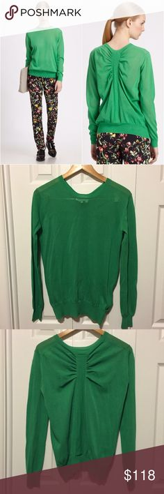 "3.1 Phillip Lim Ruched Sweater 3.1 Phillip Lim Ruched back Sweater in Green. Beautiful detail on back with relaxed fit. 82%cotton/18% polyamide. Appx: 18"" chest across, 28"" length. EUC- excellent condition, one tiny snag on lower front barely noticeable. 3.1 Phillip Lim Sweaters"