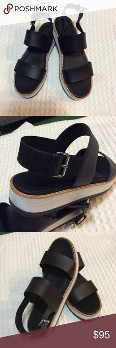 Vince like new condition sandals Never worn size 8.5 , color black leather with adjustable side strap Vince Shoes Sandals
