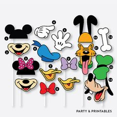 Instant Download / 39 Pieces Disney Inspired Photo Booth Props + 1 Photo Booth Sign (PBP.01A)