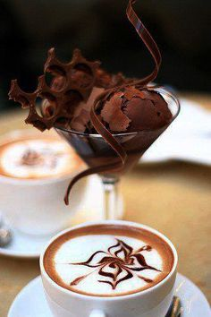 Capuccino & Chocolate... booze into the coffee that early is pub attraction,though...:)))
