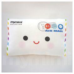 Decorative Pillow Mini Pillow Stuffed Soft Toy  Happy by mymimi, $18.00