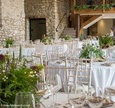 Wedding Breakfast Flowers, Wedding Flowers, Stone Barns, Centre Pieces, Natural Wood, Garland, Table Decorations, Furniture, Balcony