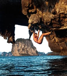 Jessa Younkers climbing on Poda Island's outrageous features. Photo by David Clifford