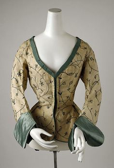Ca 1600-1625 linen Jacket with silk and wool edging and embroidery | British | The Met