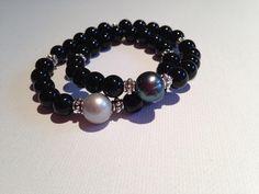 Tahitian pearl and onyx wrap bracelet..$125.