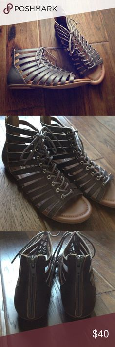 NWOT ALDO laced sandals Never worn charcoal laced sandals from Aldo. No trades. ALDO Shoes Sandals