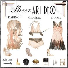 Sheer Art Deco by aibp on Polyvore featuring Agent Provocateur, Sergio Rossi, Casadei, Chinese Laundry, AERIN and DwellStudio