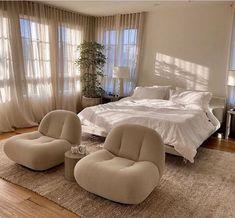 Room Ideas Bedroom, Bedroom Inspo, Home Bedroom, Bedroom Decor, Korean Bedroom Ideas, Airy Bedroom, 1980s Bedroom, Bedroom In Living Room, Bedroom With Couch