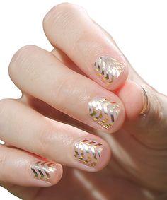 Gold Mini Chevron Nail Wraps