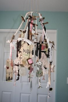 OOAK  Mobile / Wire lampshade / Tags / Vintage by creationsbyminda,