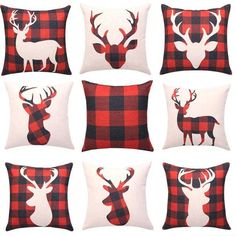 Buffalo Plaid Cushion Covers Deer Head Decorative Pillow Cases Square Linen Throw Pillow Cover Christmas Sofa Home Decor Yesterday's price: U. Christmas Cushions, Christmas Pillow Covers, Christmas Sewing, Plaid Christmas, Cheap Christmas, Reindeer Silhouette, Decorative Pillow Cases, Deco Table, Christen