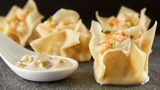 Spicy Thai wontons with shrimp and lemongrass, with a coconut dipping sauce.