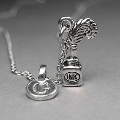 Ink Pot and Quill Necklace small silver by chrysdesignsjewelry, $18.00