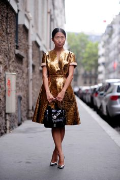 Golden Dress | Fit For A Clothes-Horse | Oxana On {photographed by Street Style Aesthetic}