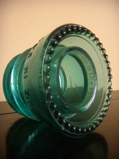 Teal Green Glass Hemingray Telegraph Power Insulator