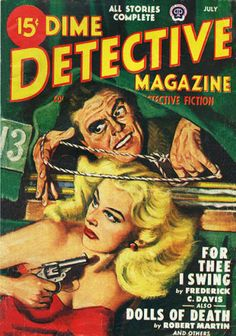 Dime Detective Magazine, July 1948; cover art by Albert Drake. (via Catalog)