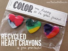 Making these today! Recycled Heart Crayons and Free Printable Gift Tag