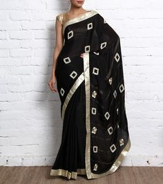 Black Crepe Saree with Hand Embroidery