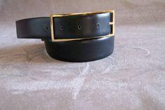 Ceinture Amboise box noir 70 cm Made in France boucle dorée rectangulaire de la boutique MyFrenchIdeedAntique sur Etsy