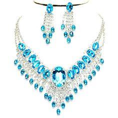 Affordable Wedding Jewelry Aqua Blue Clear Rhinestone Cascade Earrings Silver Necklace Set Affordable Wedding Jewelry http://www.amazon.com/dp/B017UY4RAC/ref=cm_sw_r_pi_dp_PMoVwb0Z431PF